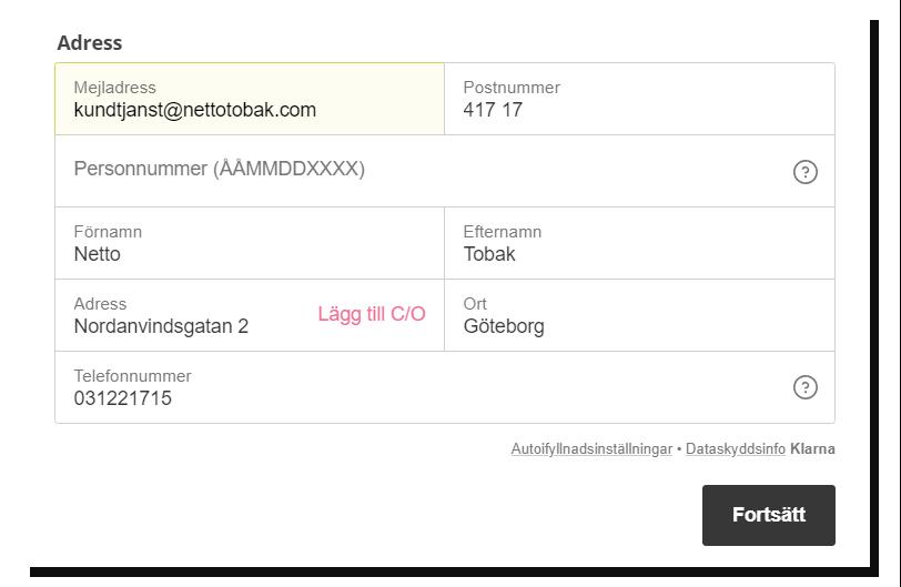 Betala med Klarna på Nettotobak!